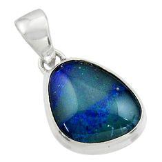 7.33cts natural blue australian opal triplet 925 sterling silver pendant r44666