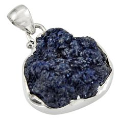 28.86cts natural blue azurite druzy 925 sterling silver pendant jewelry d44721