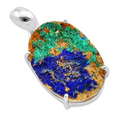 14.25cts natural blue azurite druzy 925 sterling silver pendant jewelry t29513