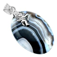 47.67cts natural blue botswana agate 925 sterling silver angel pendant r74536