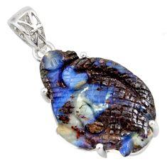 18.06cts natural blue boulder opal carving 925 sterling silver pendant r30808