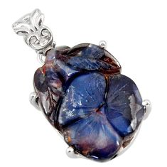 15.90cts natural blue boulder opal carving 925 sterling silver pendant r30809