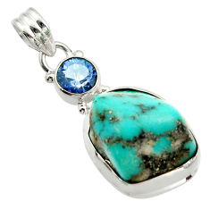 18.94cts natural blue campitos turquoise rainbow topaz 925 silver pendant d45988