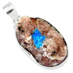 14.23cts natural blue cavansite 925 sterling silver handmade pendant r86081
