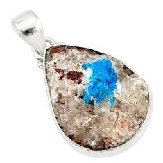 13.15cts natural blue cavansite 925 sterling silver handmade pendant r86082
