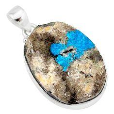 22.02cts natural blue cavansite 925 sterling silver handmade pendant r86092