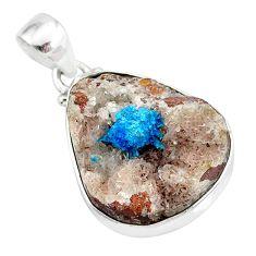 14.72cts natural blue cavansite 925 sterling silver handmade pendant r86093