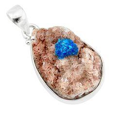 15.65cts natural blue cavansite 925 sterling silver handmade pendant r86099