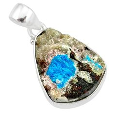 12.58cts natural blue cavansite 925 sterling silver handmade pendant r86102