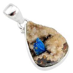 10.08cts natural blue cavansite 925 sterling silver handmade pendant r86104