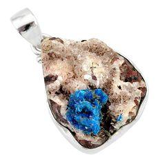 18.70cts natural blue cavansite 925 sterling silver handmade pendant r86106