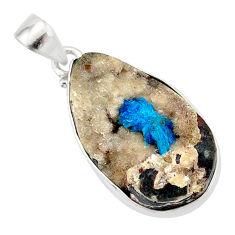 17.22cts natural blue cavansite 925 sterling silver handmade pendant r86108