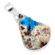 10.05cts natural blue cavansite 925 sterling silver handmade pendant r86111