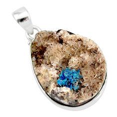 18.70cts natural blue cavansite 925 sterling silver handmade pendant r86114