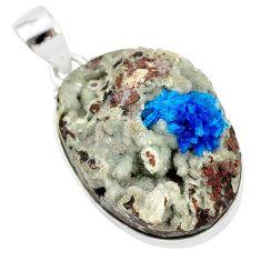 22.59cts natural blue cavansite 925 sterling silver handmade pendant r86115