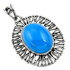 16.25cts natural blue chalcedony 925 sterling silver pendant jewelry d44701