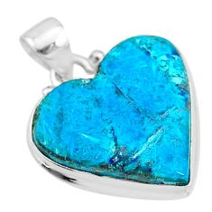 12.58cts natural blue chrysocolla 925 sterling silver heart pendant t4121