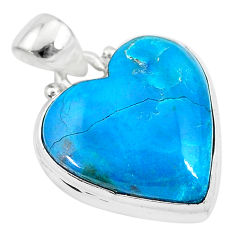 13.15cts natural blue chrysocolla 925 sterling silver heart pendant t4138
