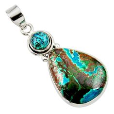 17.57cts natural blue chrysocolla 925 sterling silver pendant jewelry d45401