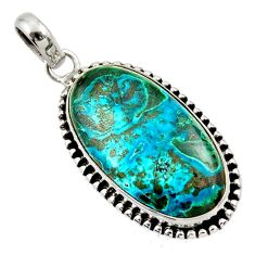 21.48cts natural blue chrysocolla 925 sterling silver pendant jewelry d45402