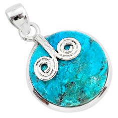 15.08cts natural blue chrysocolla 925 sterling silver pendant jewelry r94372