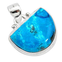 12.22cts natural blue chrysocolla 925 sterling silver pendant jewelry r94918
