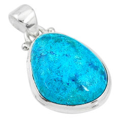 12.55cts natural blue chrysocolla 925 sterling silver pendant jewelry t4132