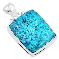 14.68cts natural blue chrysocolla 925 sterling silver pendant jewelry t4135