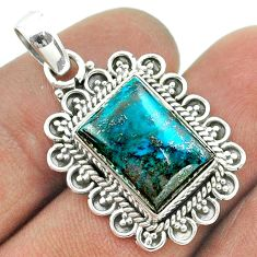 7.35cts natural blue chrysocolla 925 sterling silver pendant jewelry t56012