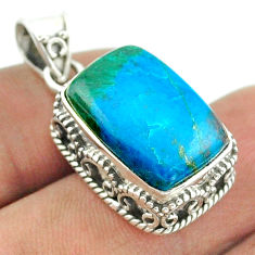 11.54cts natural blue chrysocolla 925 sterling silver pendant jewelry t56019