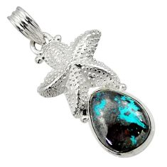Clearance Sale- 10.89cts natural blue chrysocolla 925 sterling silver star fish pendant d44928