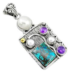 12.32cts natural blue chrysocolla amethyst 925 silver 14k gold pendant t10668