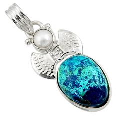 Clearance Sale- 10.02cts natural blue chrysocolla pearl 925 sterling silver pendant d44926
