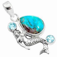 12.31cts natural blue chrysocolla topaz 925 silver fairy mermaid pendant t10671