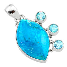 16.70cts natural blue chrysocolla topaz 925 sterling silver pendant t30440