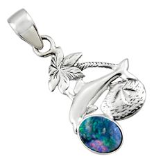 2.60cts natural blue doublet opal australian 925 silver dolphin pendant r48342