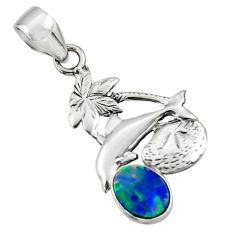 2.60cts natural blue doublet opal australian 925 silver dolphin pendant r48345