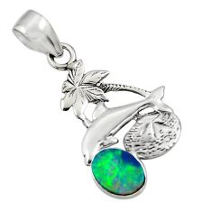 2.60cts natural blue doublet opal australian 925 silver dolphin pendant r48346