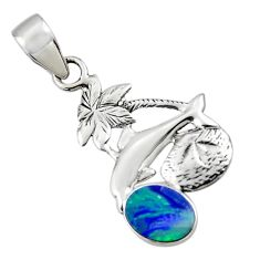 2.57cts natural blue doublet opal australian 925 silver dolphin pendant r48351