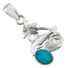 2.58cts natural blue doublet opal australian 925 silver dolphin pendant r48357