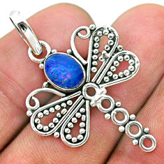 1.30cts natural blue doublet opal australian 925 silver dragonfly pendant t32912
