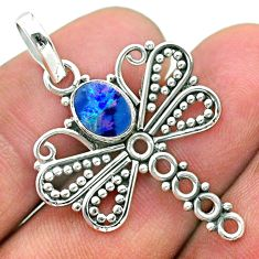 1.30cts natural blue doublet opal australian 925 silver dragonfly pendant t32913