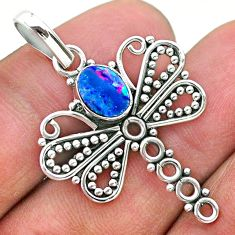 1.40cts natural blue doublet opal australian 925 silver dragonfly pendant t32916