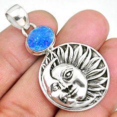 3.28cts natural blue doublet opal australian 925 silver moon face pendant r90478
