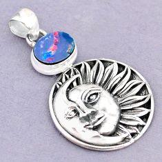 3.29cts natural blue doublet opal australian 925 silver moon face pendant r90661