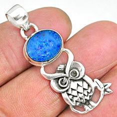 3.81cts natural blue doublet opal australian 925 silver owl pendant r90493