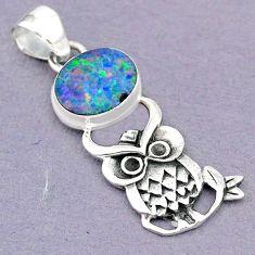 4.06cts natural blue doublet opal australian 925 silver owl pendant r90662