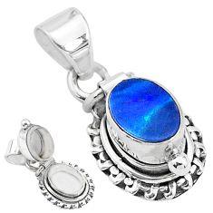 2.01cts natural blue doublet opal australian 925 silver poison box pendant t3723