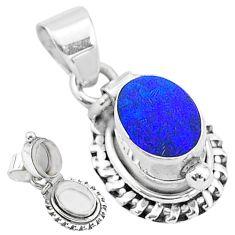 2.12cts natural blue doublet opal australian 925 silver poison box pendant t3726