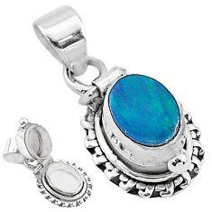 2.03cts natural blue doublet opal australian 925 silver poison box pendant t3731
